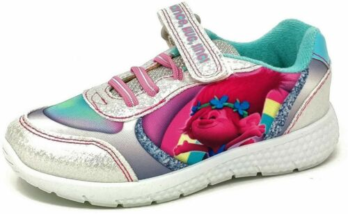 GIRLS KIDS CHILDRENS TROLLS SPARKLY PINK SILVER JOGGING TRAINERS SHOES SIZE 6-12