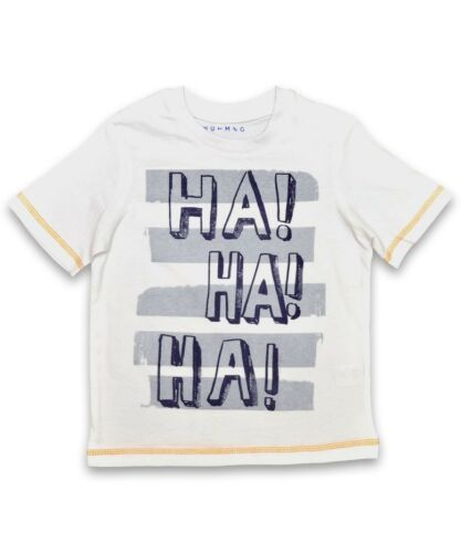 BNWT Boys Nutmeg /'Ha Ha Ha/' White Cotton T-Shirt Ages 2-3 Years Only Left