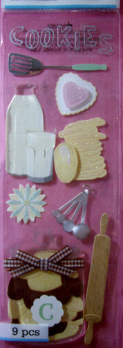 NEW 9 pc COOKIE BAKING Milk Cookies Spatula  MARTHA STEWART CRAFTS 3D Stickers