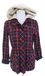 Blu-Pepper-Womens-Flannel-Full-Zip-Sherpa-Lined-Hooded-Utility-Jacket-Red-Sz-S