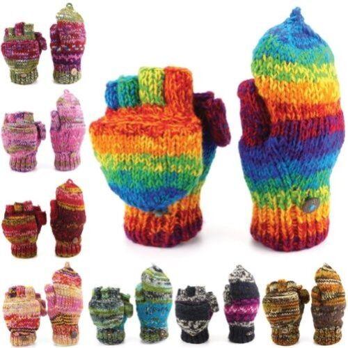 Wool Gloves Mittens Fingerless Shooter Lined SPACE DYE Knit Handmade