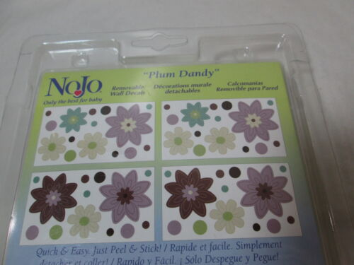 "10x18 New NoJo /""PLUM DANDY/"" Floral Removable Wall Decals  4 Sheets Flower NEW"