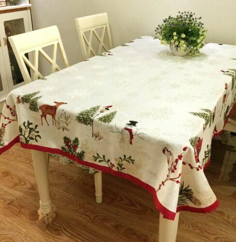 Pretty Christmas Animals Flowers Snowflake Jacquard Ivory Table Cloth XL OFStock