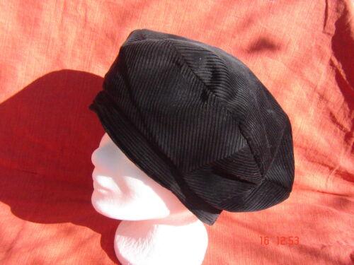 weite Cordmütze schwarz Baskenmütze Ballonmütze Baumwolle Cordbaske mit Steg