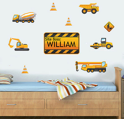 Personalised Construction Digger JCB Style Childrens Nursery Wall Stickers