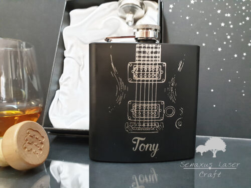 Personalised Guitar Style Hip Flask Christmas Gift Great Gift For Musicians