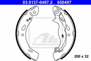 Bremsbackensatz für Bremsanlage Hinterachse ATE 03.0137-0497.2