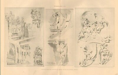 1891 Antique Print- Architecture France Amiens Sketches From Choir Stalls