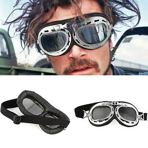 Vintage-Lunettes-Casque-Bol-Moto-Scooter-Velo-Goggles-Aviator-Pilot-Soleil-Racer
