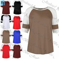 Womens Contrast Sleeve Baggy Oversized Ladies Varsity Basketball Tee T Shirt Top