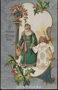 Vintage Merry Christmas Postcard with Green Santa Claus with Angel and Silver