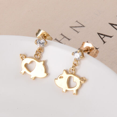 Cute Baby Children Pig 14K Gold Filled Crystal Girls Drop Safety Stud Earrings