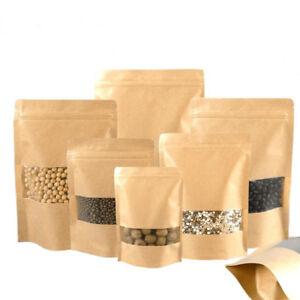 10PCS-Kraft-Paper-Seal-Zip-Lock-Bag-Resealable-Food-Storage-Bags-Packaging
