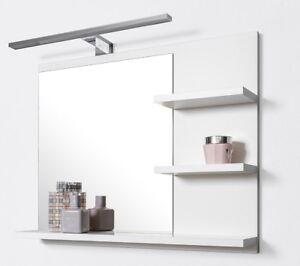 Details zu Badspiegel mit Ablagen Weiß mit LED Beleuchtung Badezimmer  Spiegel Wandspiegel