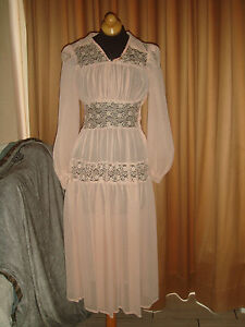 EDWARDIAN-ANTIQUE-30S-SHEER-LACE-RUFFLE-WEDDING-LAWN-PINK-TEA-PARTY-DRESS-GOWN