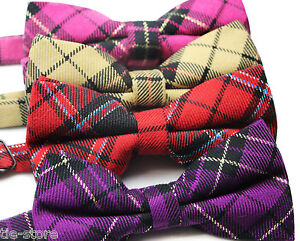 MENS-COTTON-TARTEN-STRIPE-BOW-TIE-PRE-TIED-BOWTIE-WEDDING-FORMAL-TIES-TUXEDO