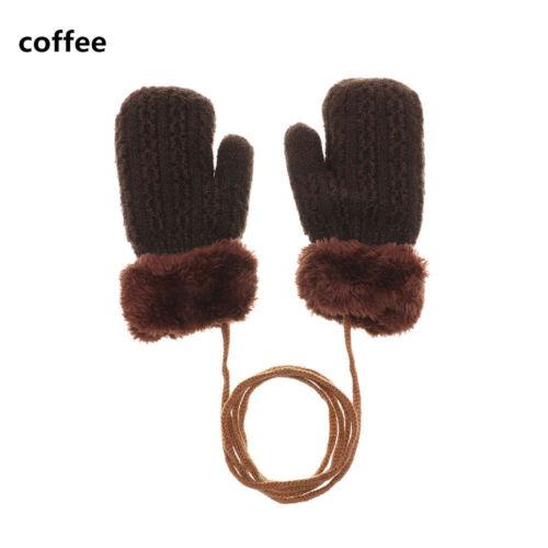Girls Keep Finger Warm Baby Kids Knitting Mittens Plus Velvet Thick Kids Gloves