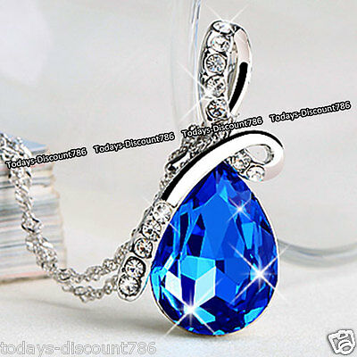 Royal Blue Teardrop Crystal Necklace Love Wife Girl Mum Xmas Gifts For Her Women