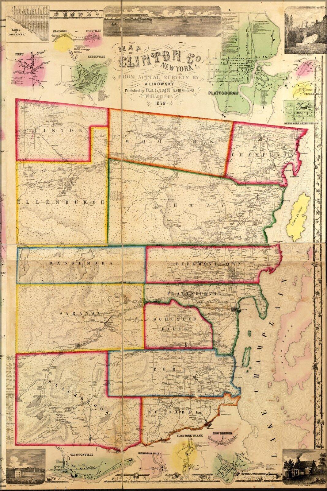 Plakat, Viele Größen; Karte von Clinton Co New York 1856
