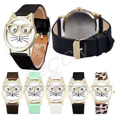 Fashion Women Lady Watch Cute Glasses Cat Analog Quartz Dial Classic Wrist Watch