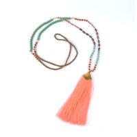 Handgefertigte Quasten Halskette Boheme Look