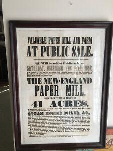 Framed 1852 Antique Auction Sale Poster Coatesville Pennsylvania Paper Mill Ebay