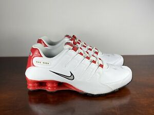 Men-039-s-Nike-Shox-NZ-Running-Shoes-White-Red-Silver-378341-110-Size-9-5