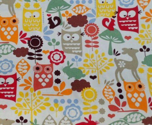 Woodland 100/% coton crème toile tissu Hibou Cerf Lapin squirrell