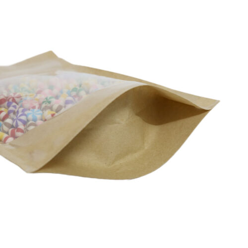 """Pack of 100 Reclosable Kraft With Clear Window Stand Up Zipper Seal Bags ~4x6/"""""""