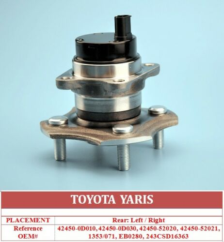 FOR TOYOTA YARIS 05/> REAR AXLE WHEEL BEARING HUB ABS SENSORS 424500D060 EB0280