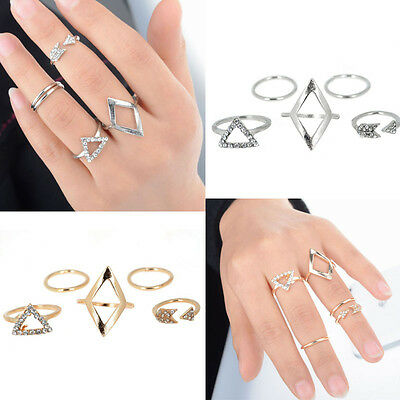 Women Arrow Diamond Ring Triangle Joint  Knuckle Ring Set of 5 Rings Elegant