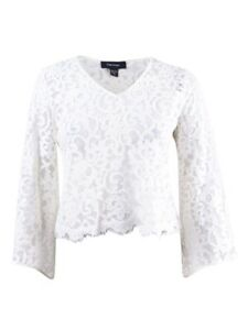 Karen-Kane-Women-039-s-Bell-Sleeve-Lace-Top-L-Cream