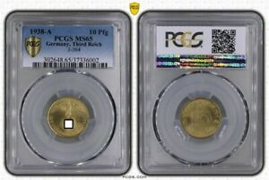 Third Reich 10 Pfennig 1938 A Fresh Mint Condition PCGS MS65 (36354)