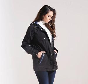 Charcoal-Fashion-Women-039-s-Black-Water-Resistant-Festival-Mac-Rain-Coat