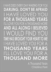 A Thousand Years - Christina Perri Word Wall Art Typography Words  Lyric Lyrics