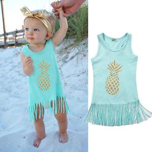 94586dea2a831 Details about 0-5T Baby Girls Princess Beach Dress Kids Casual Sundress  Clothes Tassel Dresses