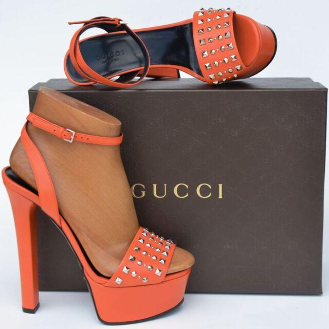 57498fc080b2 GUCCI New sz 38 - 8 Designer Womens Platform Heels Shoes Sandals orange  studded