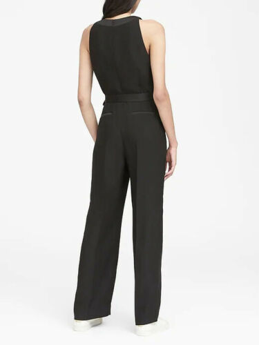 NWT Banana Republic New $148.00 Women Black V-Neck Jumpsuit Size 2 8Tall 4
