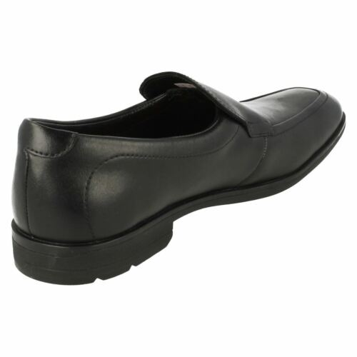 Clarks Bootleg Willis Step BL Black Leather Older Boys Slip On School Shoes