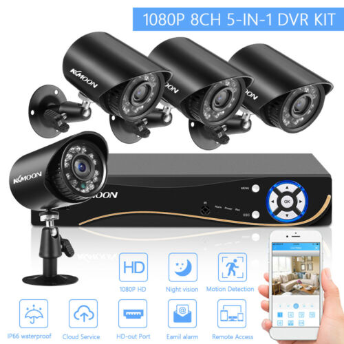 KKmoon 8CH 1080P AHD DVR 4pcs 2.0MP Bullet CCTV Camera Kit Motion Detection R7R5