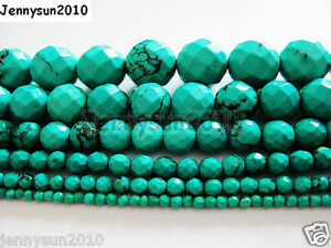 Stabilized-Turquoise-Gemstone-Faceted-Round-Beads-16-039-039-2mm-3mm-4mm-6mm-8mm-10mm