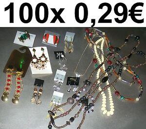 100x-MODESCHMUCK-HALSKETTE-ARMBAND-OHRRINGE-ARMREIFEN-WURFMATERIAL-SCHAUSTELLER