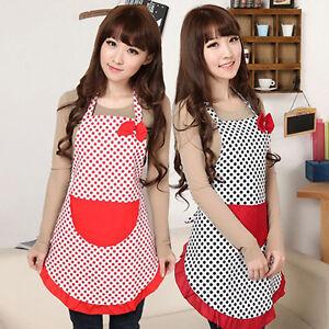 UK-EG-Women-BowKnot-Dot-Aprons-Kitchen-Restaurant-Cafe-Bib-Cooking-With-Pocket