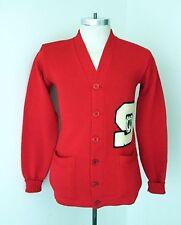 "VGC Vtg 50s Red Wool Varsity Carpet ""S"" Band Letterman Cardigan Pocket Sweater S"