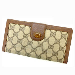 Gucci-Wallet-Purse-Long-Wallet-GG-Brown-Beige-Woman-Authentic-Used-Y1562