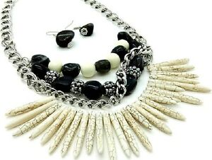 Layers-Black-Cream-Beads-Cream-Spike-Stones-Western-Necklace-Set-Fashion