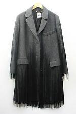 NEW Moschino Wool Coat Fringing Grey Jacket Oversized Size 10 12