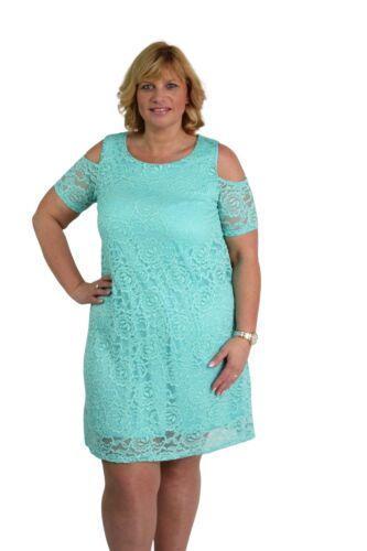 Ladies Floral Lace Cold Shoulder Plus Size New Short Sleeve Shift Dress 14-28