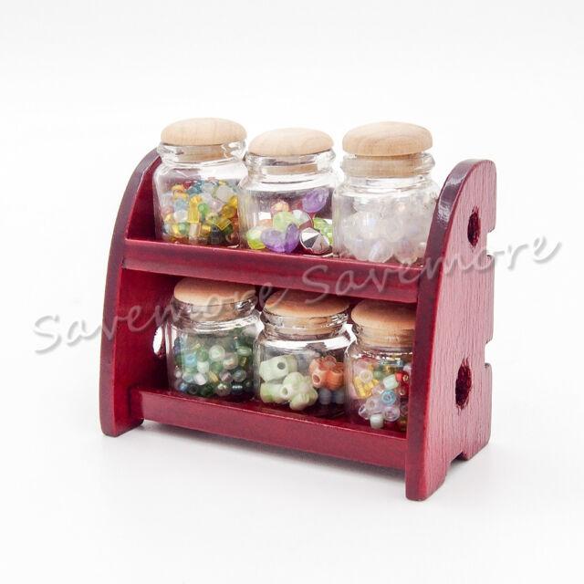 1//12 Miniature Wooden Jars Rack w// 6pcs Glass Spice Bottles Candy Shop Dollhouse