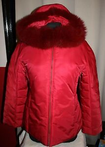 1 Madison Women M Fox Fur Puffer Coat Hooded Jacket RED